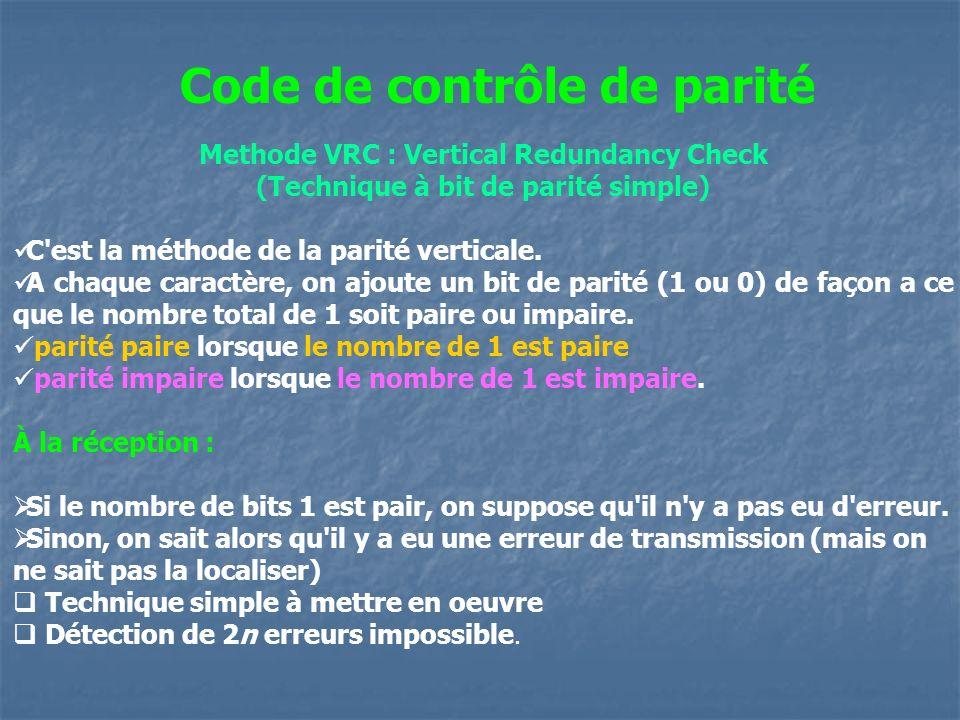 Methode VRC : Vertical Redundancy Check (Technique à bit de parité simple) C'est la méthode de la parité verticale. A chaque caractère, on ajoute un b