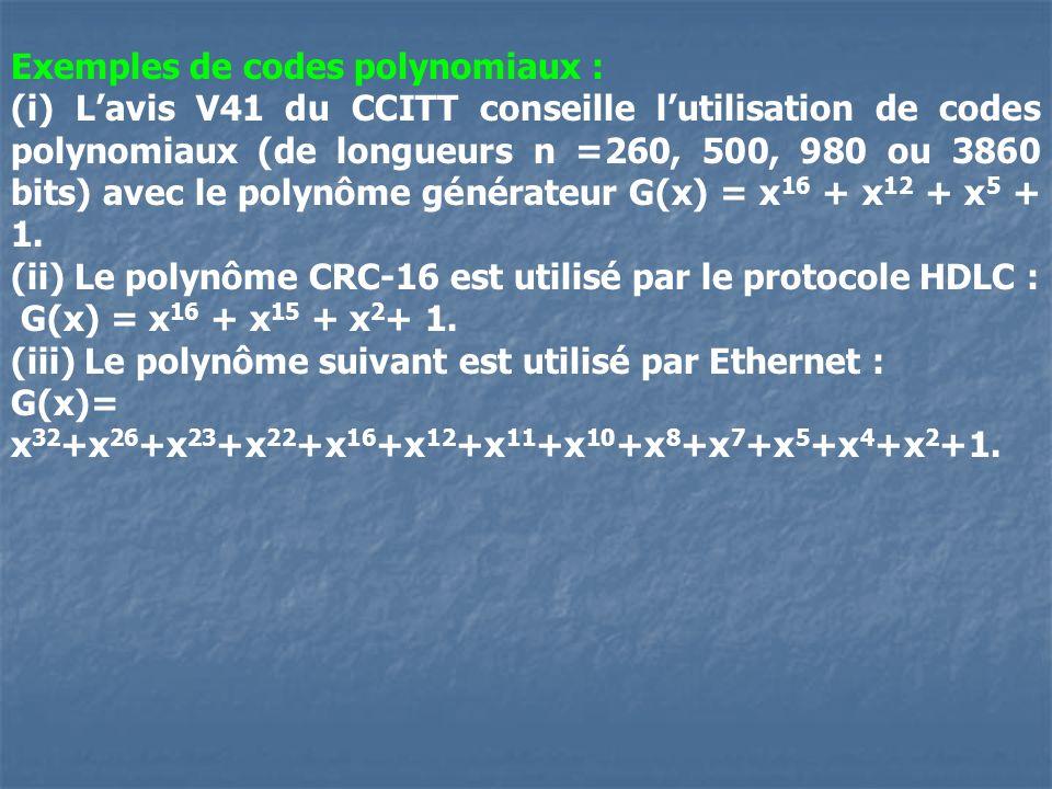 Exemples de codes polynomiaux : (i) Lavis V41 du CCITT conseille lutilisation de codes polynomiaux (de longueurs n =260, 500, 980 ou 3860 bits) avec l