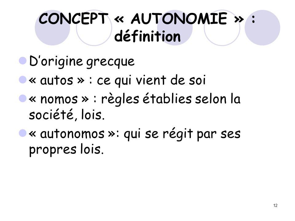 12 CONCEPT « AUTONOMIE » : définition Dorigine grecque « autos » : ce qui vient de soi « nomos » : règles établies selon la société, lois. « autonomos