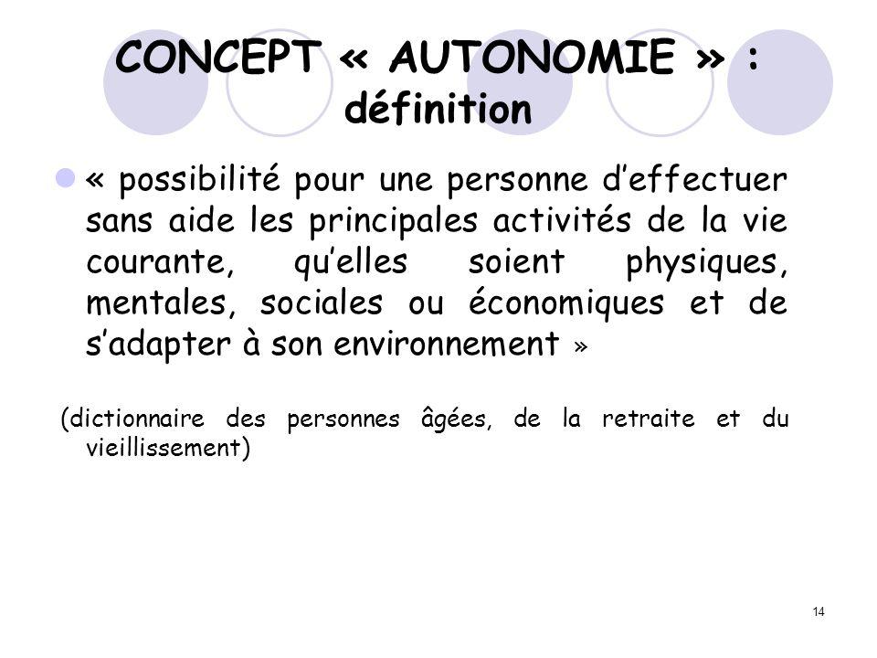 14 CONCEPT « AUTONOMIE » : définition « possibilité pour une personne deffectuer sans aide les principales activités de la vie courante, quelles soien