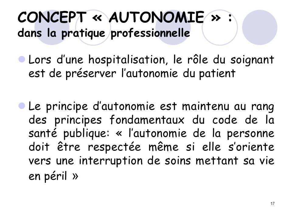 17 Lors dune hospitalisation, le rôle du soignant est de préserver lautonomie du patient Le principe dautonomie est maintenu au rang des principes fon