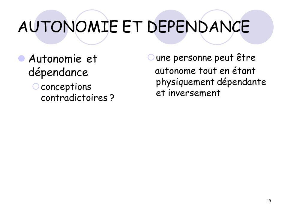 19 AUTONOMIE ET DEPENDANCE Autonomie et dépendance conceptions contradictoires ? une personne peut être autonome tout en étant physiquement dépendante