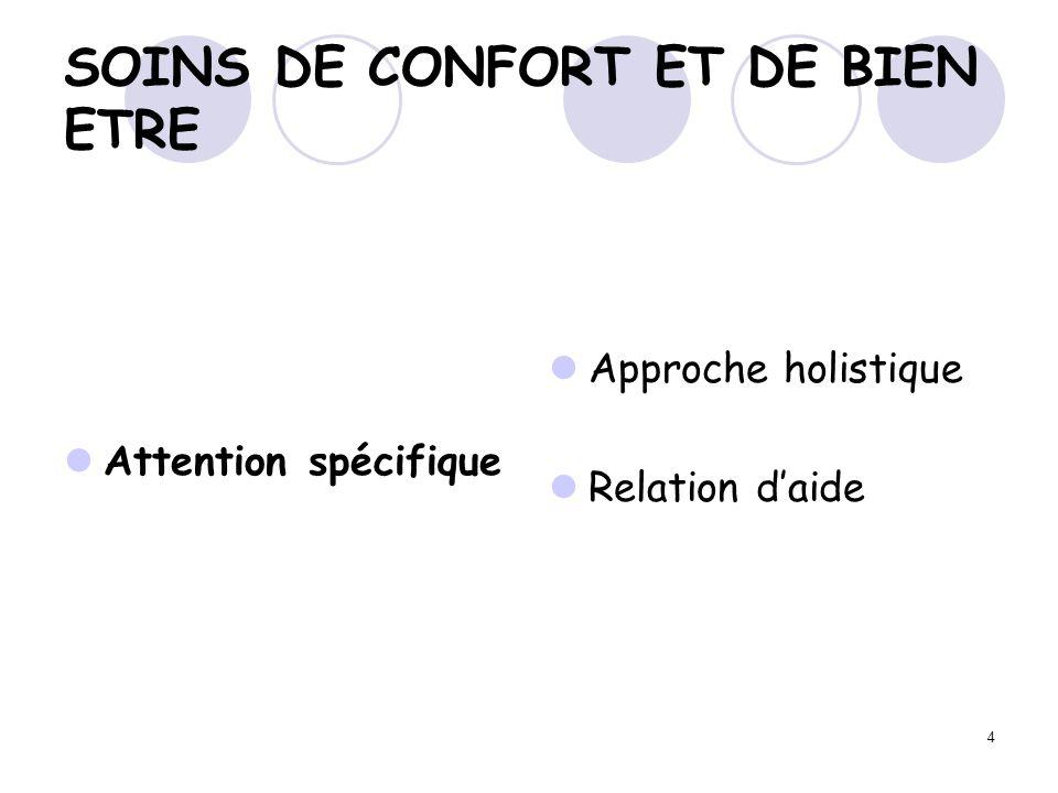 4 SOINS DE CONFORT ET DE BIEN ETRE Attention spécifique Approche holistique Relation daide