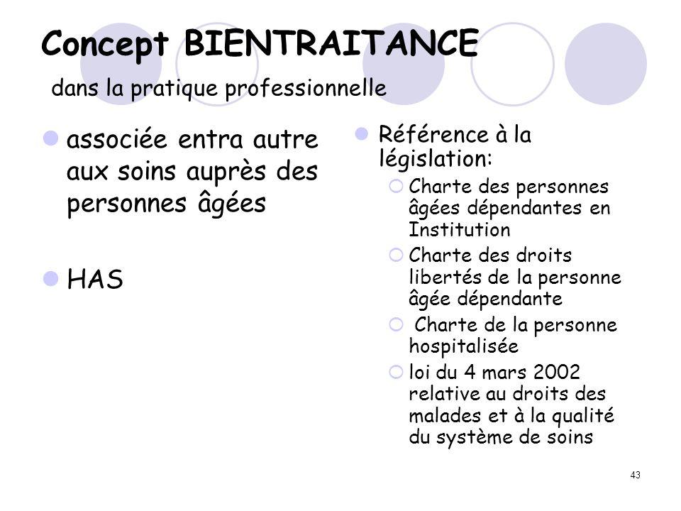 43 Concept BIENTRAITANCE dans la pratique professionnelle associée entra autre aux soins auprès des personnes âgées HAS Référence à la législation: Ch