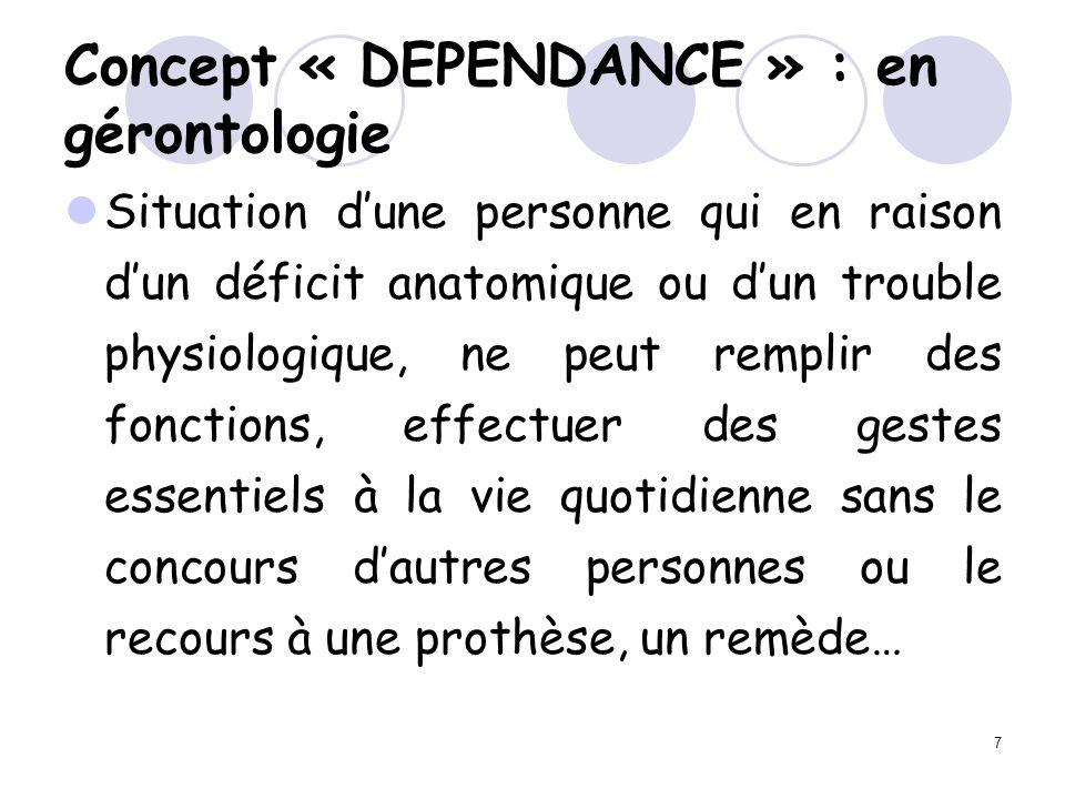 7 Concept « DEPENDANCE » : en gérontologie Situation dune personne qui en raison dun déficit anatomique ou dun trouble physiologique, ne peut remplir