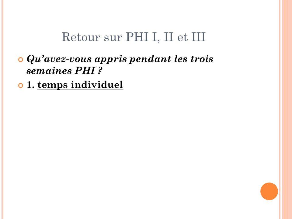 Retour sur PHI I, II et III Quavez-vous appris pendant les trois semaines PHI ? 1. temps individuel
