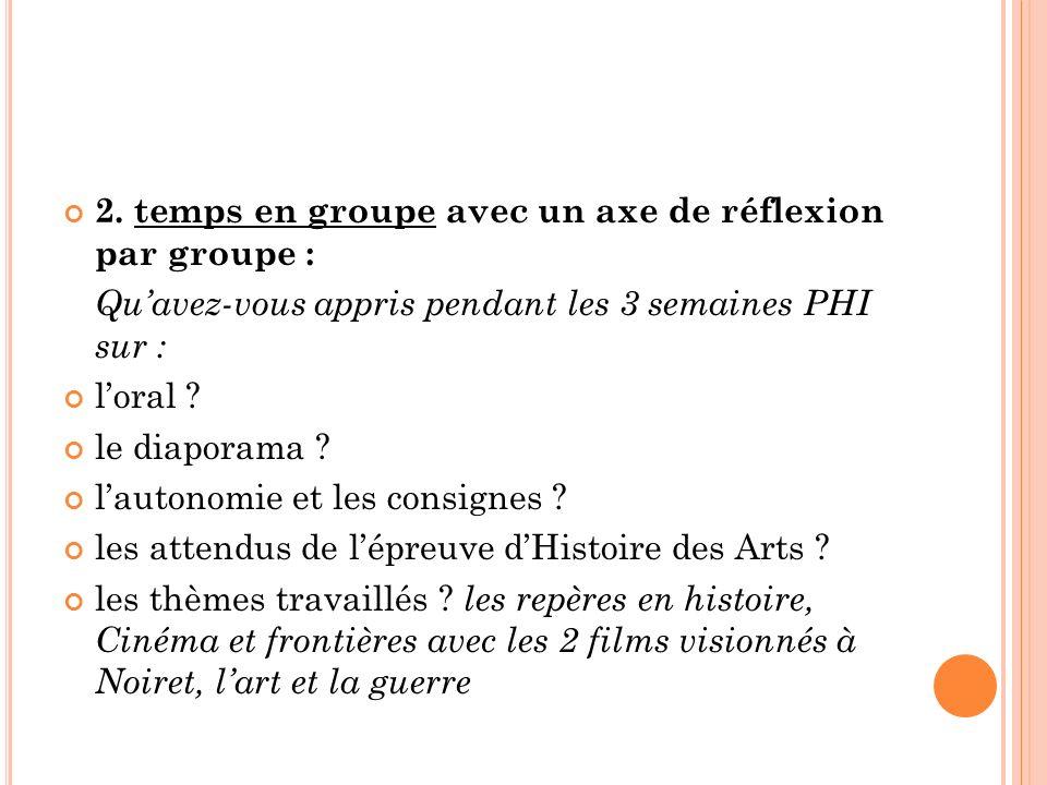 2. temps en groupe avec un axe de réflexion par groupe : Quavez-vous appris pendant les 3 semaines PHI sur : loral ? le diaporama ? lautonomie et les