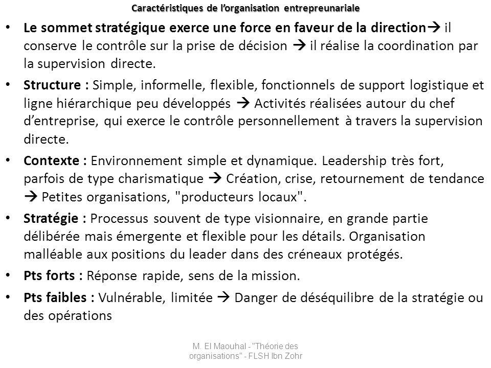 Organisation mécanique Environnement simple et stable M.