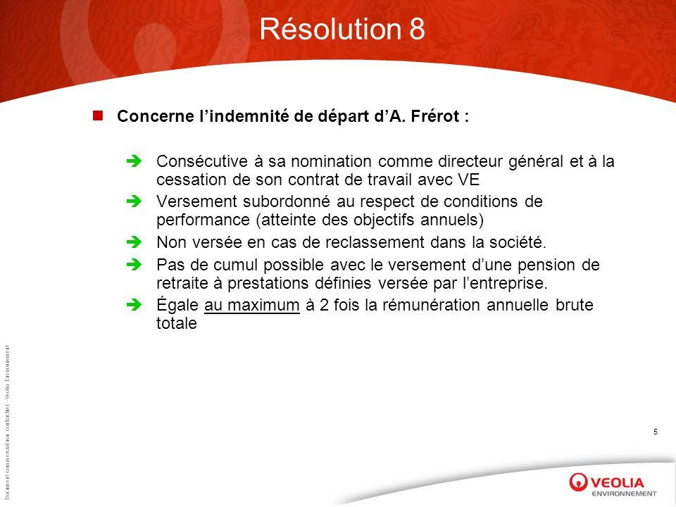 Document commercial non contractuel –Veolia Environnement 5 Résolution 8 Concerne lindemnité de départ dA.