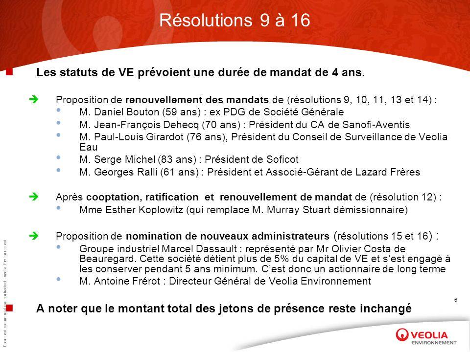 Document commercial non contractuel –Veolia Environnement 6 Résolutions 9 à 16 Les statuts de VE prévoient une durée de mandat de 4 ans.