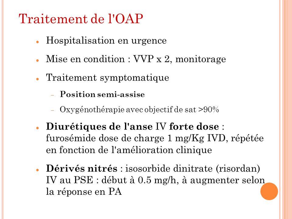 Traitement de l'OAP Hospitalisation en urgence Mise en condition : VVP x 2, monitorage Traitement symptomatique Position semi-assise Oxygénothérapie a
