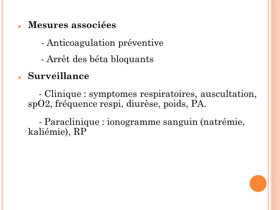 Mesures associées - Anticoagulation préventive - Arrêt des béta bloquants Surveillance - Clinique : symptomes respiratoires, auscultation, spO2, fréqu