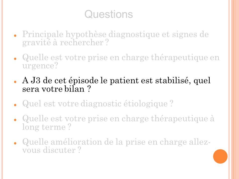 Principale hypothèse diagnostique et signes de gravité à rechercher ? Quelle est votre prise en charge thérapeutique en urgence? A J3 de cet épisode l