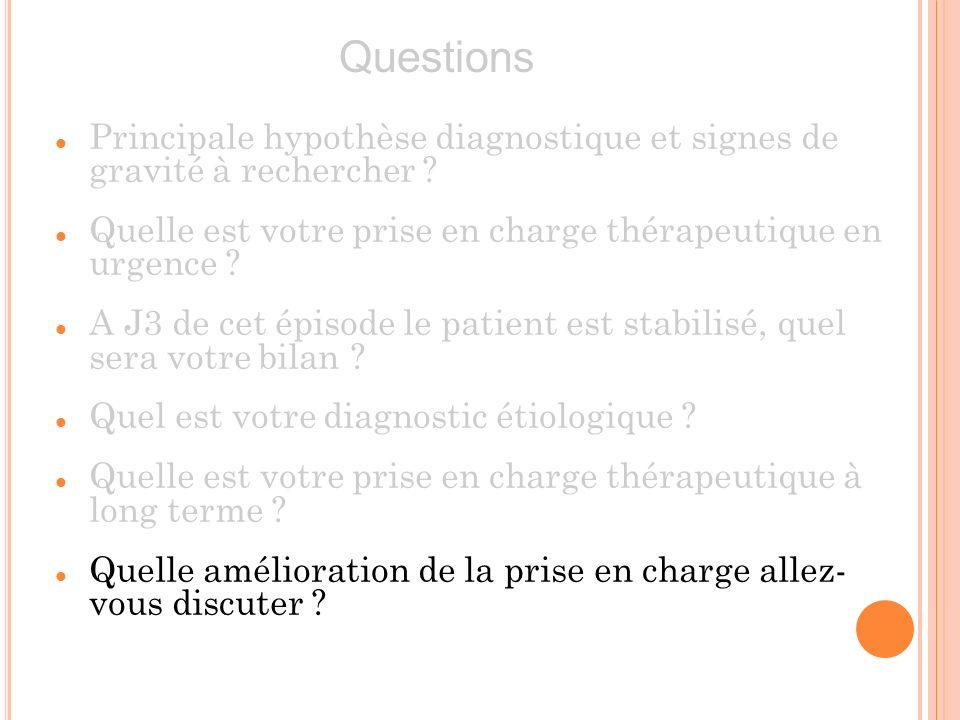 Principale hypothèse diagnostique et signes de gravité à rechercher ? Quelle est votre prise en charge thérapeutique en urgence ? A J3 de cet épisode