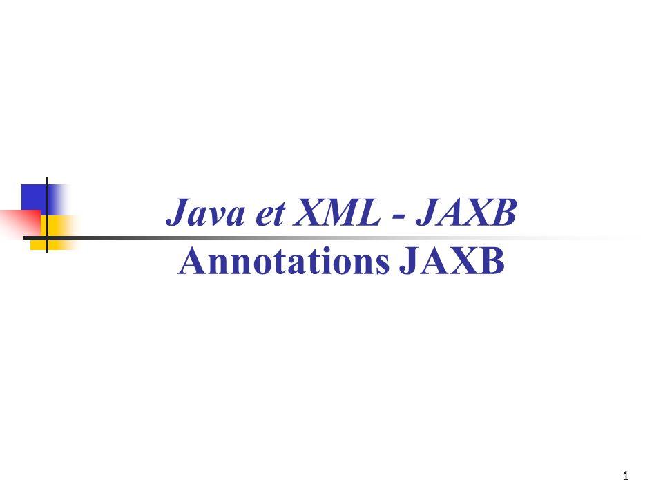 42 Annotations Le tableau ci-dessous énumère les principales annotations de JAXB ; la plupart avec les éléments auxquels elles s appliquent ; certaines peuvent annoter des attributs, d autres des classes et certaines peuvent s appliquer à tout un paquetage (@XmlSchema, par exemple).