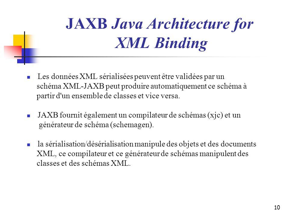 10 JAXB Java Architecture for XML Binding Les données XML sérialisées peuvent être validées par un schéma XML-JAXB peut produire automatiquement ce sc