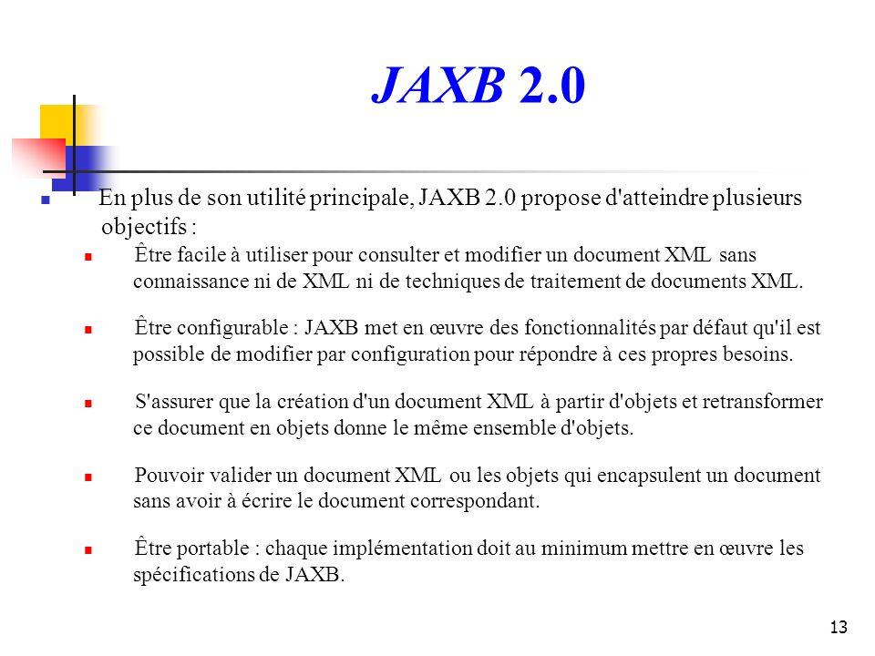 13 JAXB 2.0 En plus de son utilité principale, JAXB 2.0 propose d'atteindre plusieurs objectifs : Être facile à utiliser pour consulter et modifier un