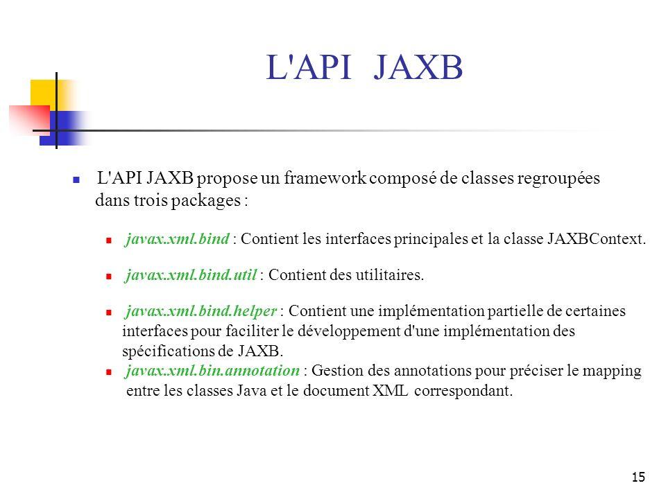 15 L'API JAXB propose un framework composé de classes regroupées dans trois packages : javax.xml.bind : Contient les interfaces principales et la clas