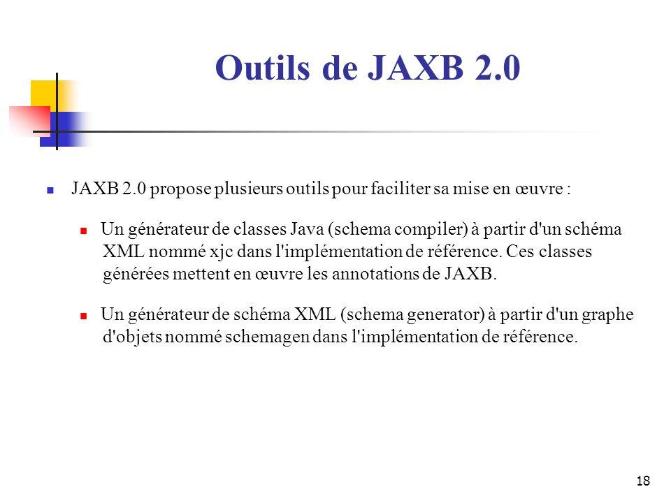 18 JAXB 2.0 propose plusieurs outils pour faciliter sa mise en œuvre : Un générateur de classes Java (schema compiler) à partir d'un schéma XML nommé