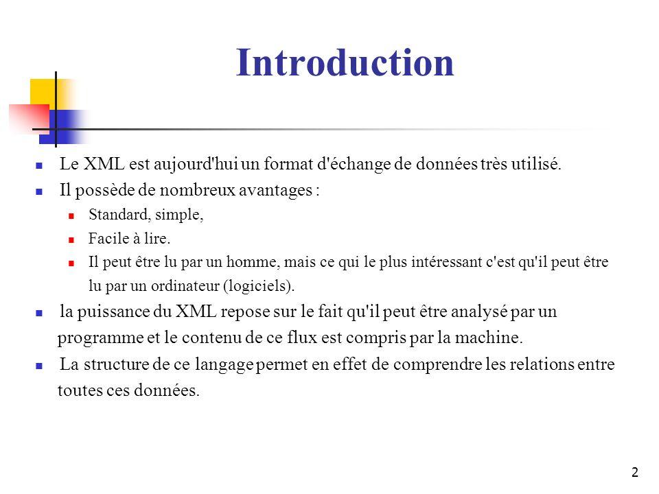 2 Le XML est aujourd'hui un format d'échange de données très utilisé. Il possède de nombreux avantages : Standard, simple, Facile à lire. Il peut être
