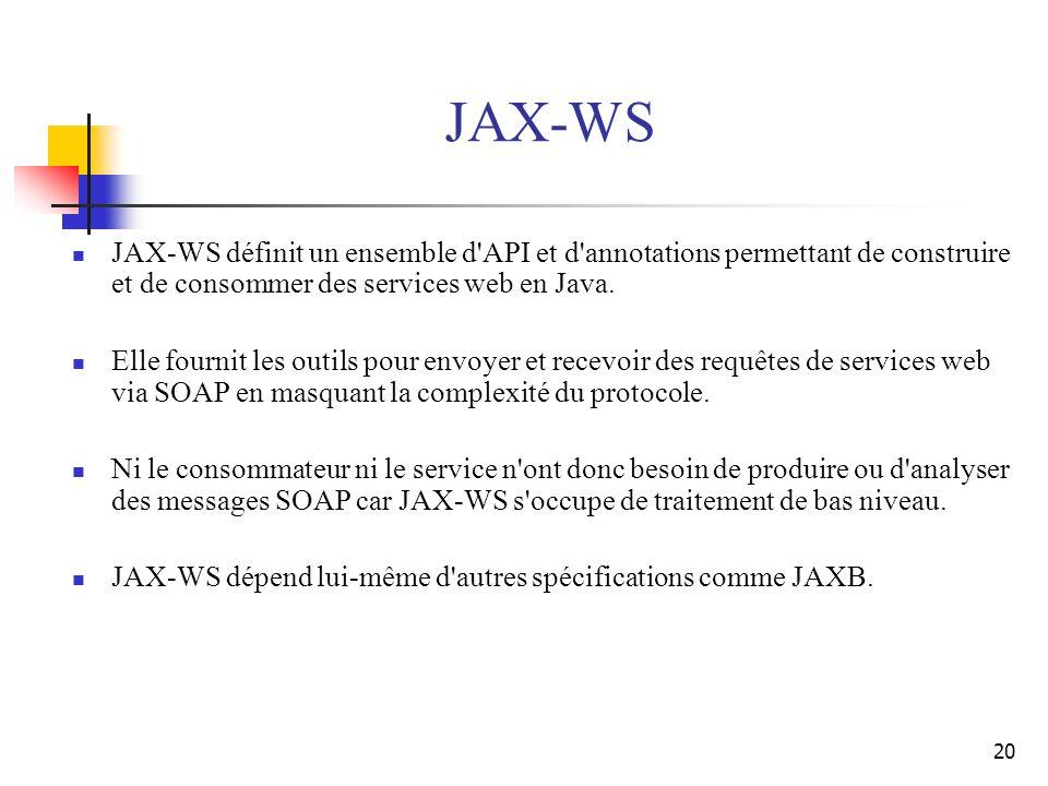 20 JAX-WS JAX-WS définit un ensemble d'API et d'annotations permettant de construire et de consommer des services web en Java. Elle fournit les outils