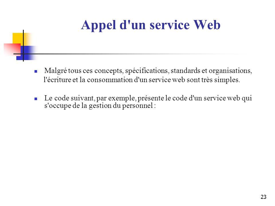 23 Appel d'un service Web Malgré tous ces concepts, spécifications, standards et organisations, l'écriture et la consommation d'un service web sont tr