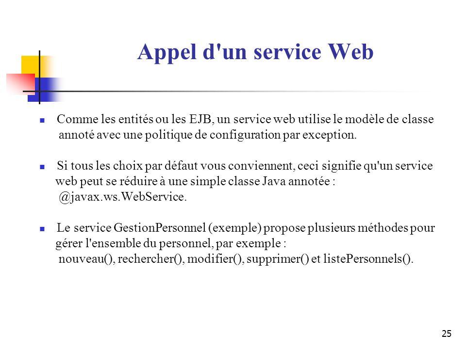 25 Appel d'un service Web Comme les entités ou les EJB, un service web utilise le modèle de classe annoté avec une politique de configuration par exce