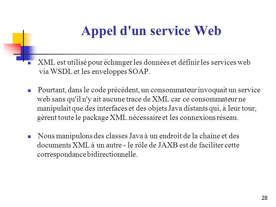 28 Appel d'un service Web XML est utilisé pour échanger les données et définir les services web via WSDL et les enveloppes SOAP. Pourtant, dans le cod