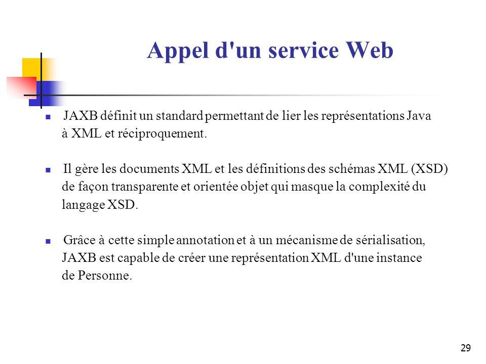 29 Appel d'un service Web JAXB définit un standard permettant de lier les représentations Java à XML et réciproquement. Il gère les documents XML et l