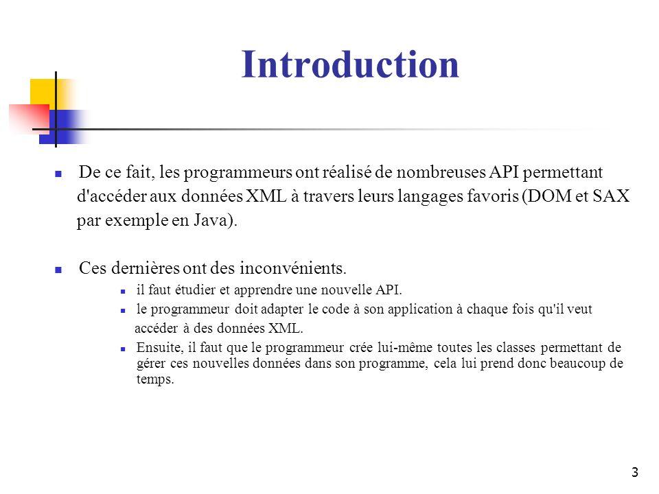 3 De ce fait, les programmeurs ont réalisé de nombreuses API permettant d'accéder aux données XML à travers leurs langages favoris (DOM et SAX par exe