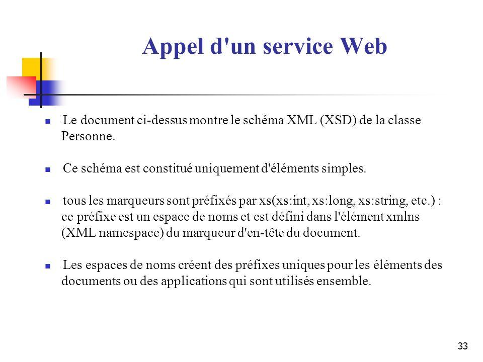 33 Appel d'un service Web Le document ci-dessus montre le schéma XML (XSD) de la classe Personne. Ce schéma est constitué uniquement d'éléments simple