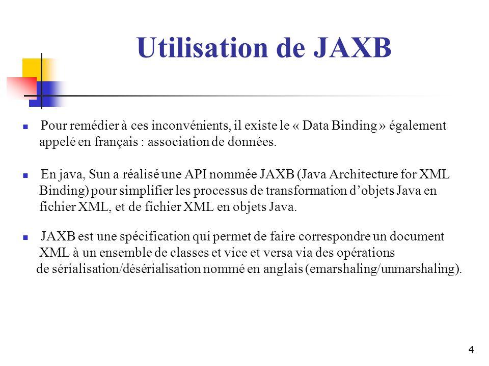 4 Utilisation de JAXB Pour remédier à ces inconvénients, il existe le « Data Binding » également appelé en français : association de données. En java,