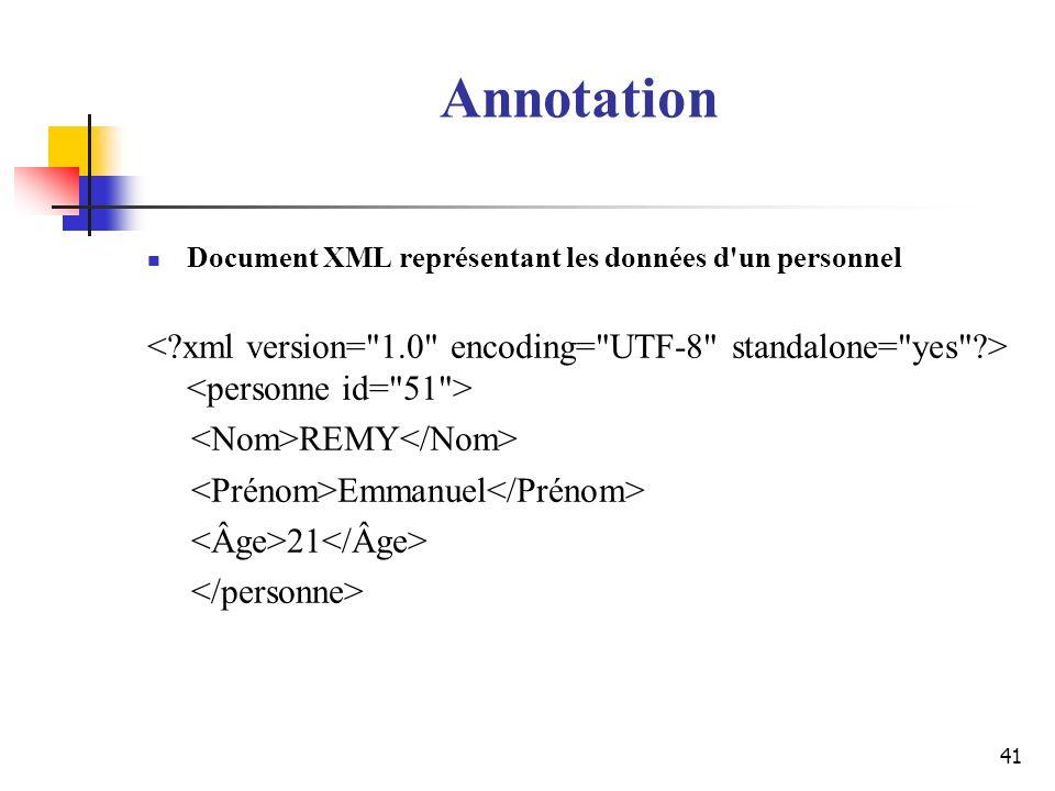 41 Annotation Document XML représentant les données d'un personnel REMY Emmanuel 21