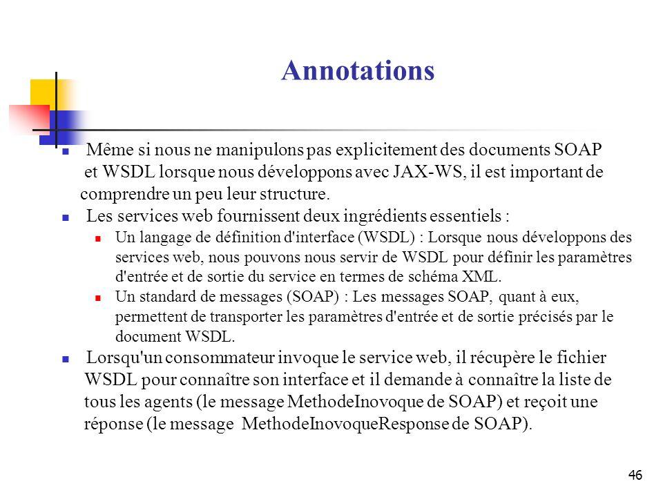 46 Annotations Même si nous ne manipulons pas explicitement des documents SOAP et WSDL lorsque nous développons avec JAX-WS, il est important de compr
