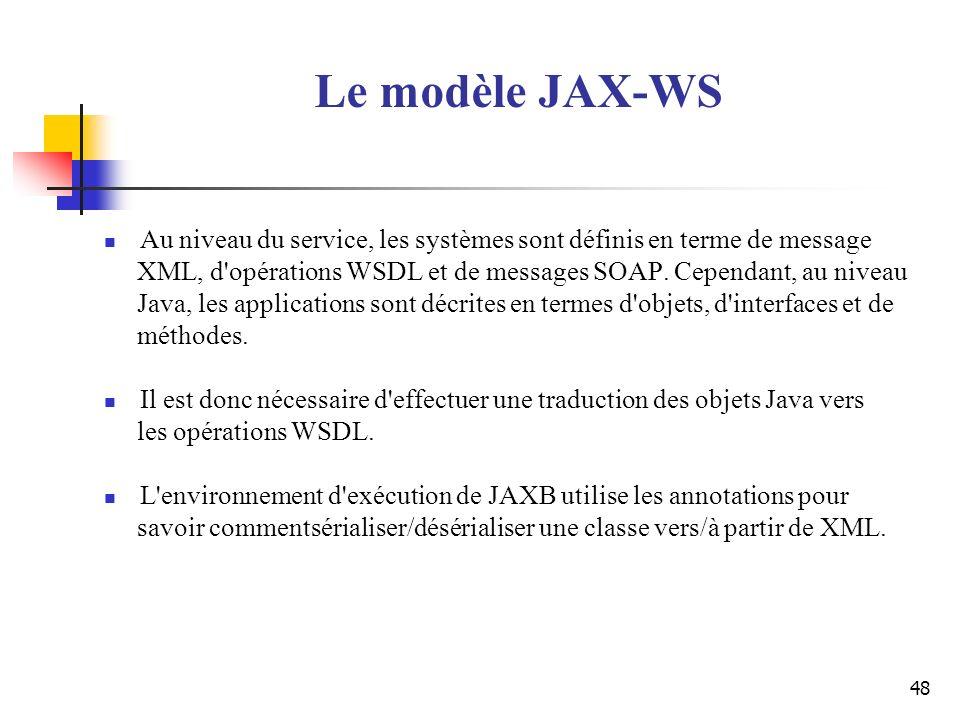 48 Le modèle JAX-WS Au niveau du service, les systèmes sont définis en terme de message XML, d'opérations WSDL et de messages SOAP. Cependant, au nive