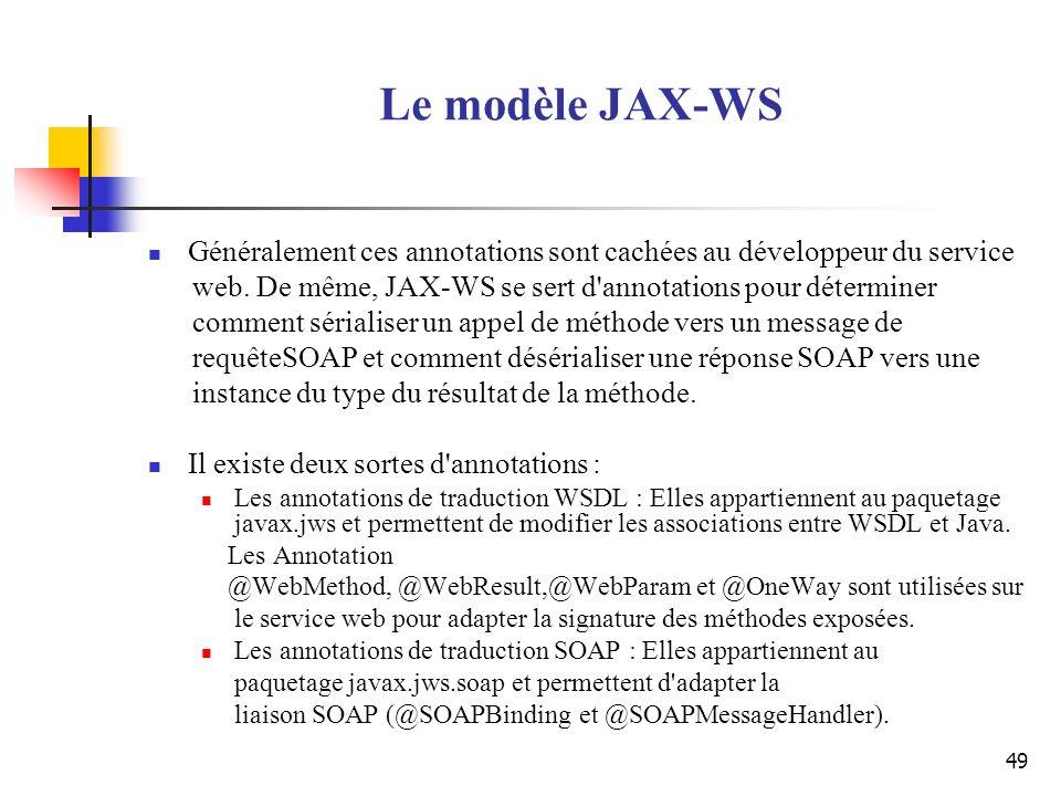 49 Le modèle JAX-WS Généralement ces annotations sont cachées au développeur du service web. De même, JAX-WS se sert d'annotations pour déterminer com