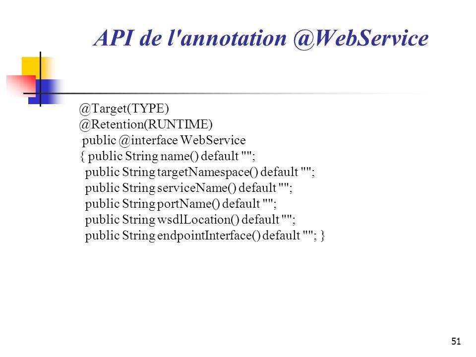 51 API de l'annotation @WebService @Target(TYPE) @Retention(RUNTIME) public @interface WebService { public String name() default