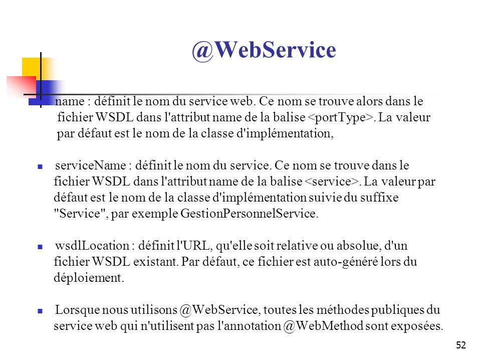 52 @WebService name : définit le nom du service web. Ce nom se trouve alors dans le fichier WSDL dans l'attribut name de la balise. La valeur par défa
