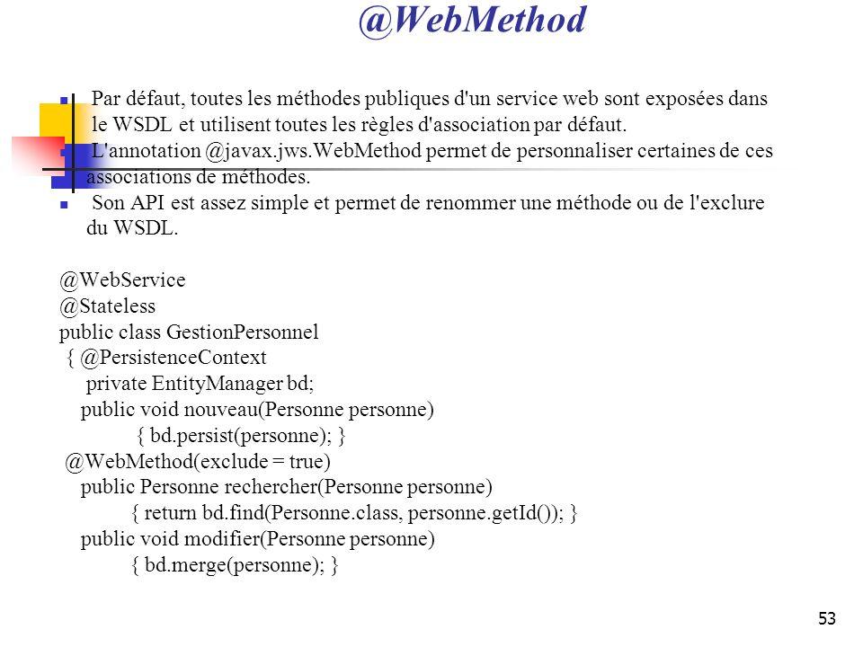 53 @WebMethod Par défaut, toutes les méthodes publiques d'un service web sont exposées dans le WSDL et utilisent toutes les règles d'association par d