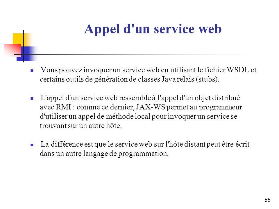 56 Appel d'un service web Vous pouvez invoquer un service web en utilisant le fichier WSDL et certains outils de génération de classes Java relais (st