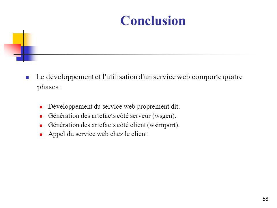 58 Conclusion Le développement et l'utilisation d'un service web comporte quatre phases : Développement du service web proprement dit. Génération des
