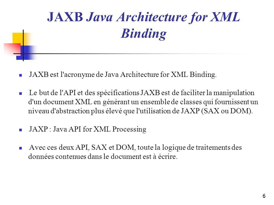 6 JAXB est l'acronyme de Java Architecture for XML Binding. Le but de l'API et des spécifications JAXB est de faciliter la manipulation d'un document