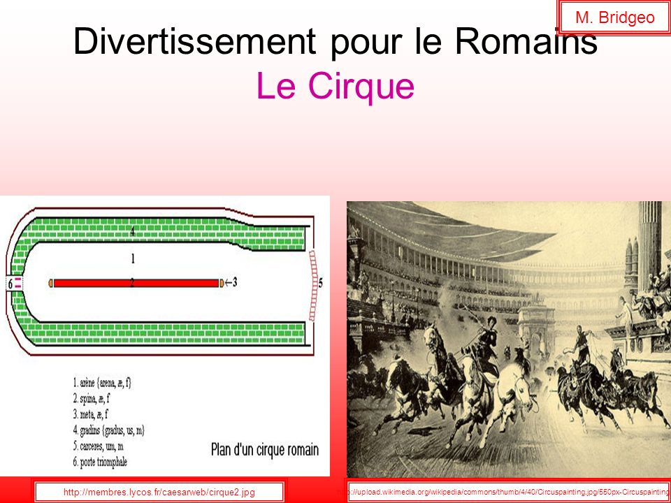Divertissement pour le Romains Le Cirque http://membres.lycos.fr/caesarweb/cirque2.jpg M. Bridgeo http://upload.wikimedia.org/wikipedia/commons/thumb/
