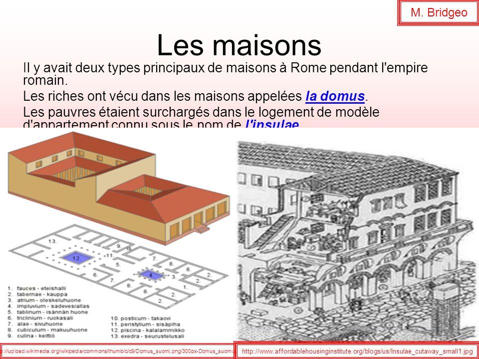 Les maisons Il y avait deux types principaux de maisons à Rome pendant l'empire romain. Les riches ont vécu dans les maisons appelées la domus. Les pa