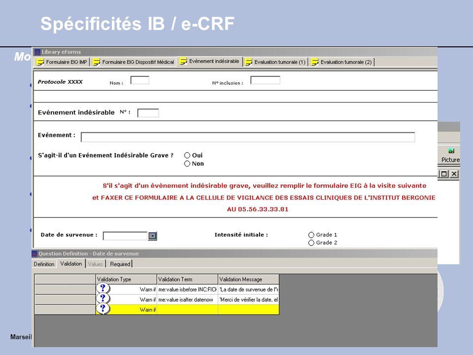 Utilisation en routine Standardisation des formulaires de recueil des données –Réunion (DM/Arc/Stats) –Fiches de recueil validées : EI – EIG IMP –EIG