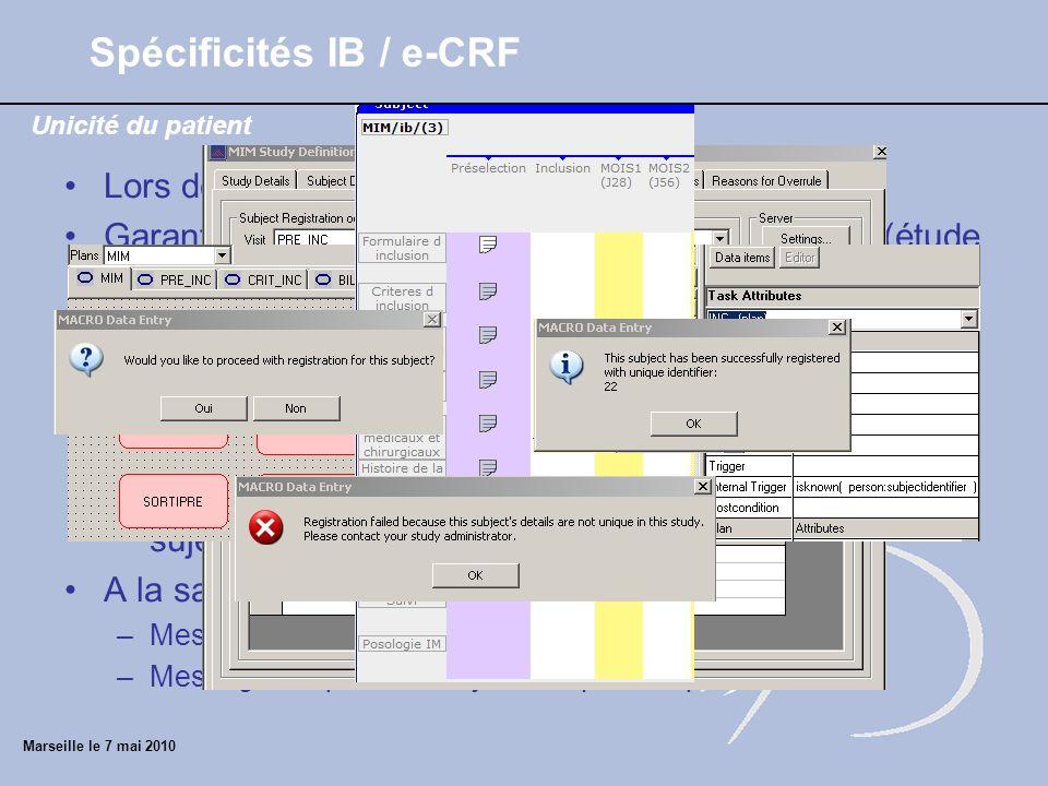 Marseille le 7 mai 2010 Lors de la définition de la base : DM Garantir lunicité du patient lors de la saisie online (étude multicentrique) Procédure (