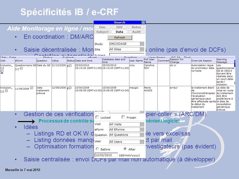 Marseille le 7 mai 2010 Aide Monitorage en ligne / module data entry Spécificités IB / e-CRF En coordination : DM/ARC Saisie décentralisée : Monitorag