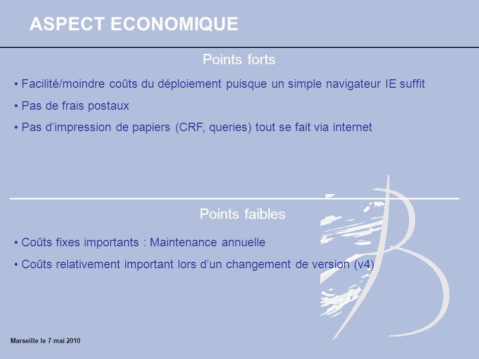 ASPECT ECONOMIQUE Points forts Points faibles Facilité/moindre coûts du déploiement puisque un simple navigateur IE suffit Pas de frais postaux Pas di