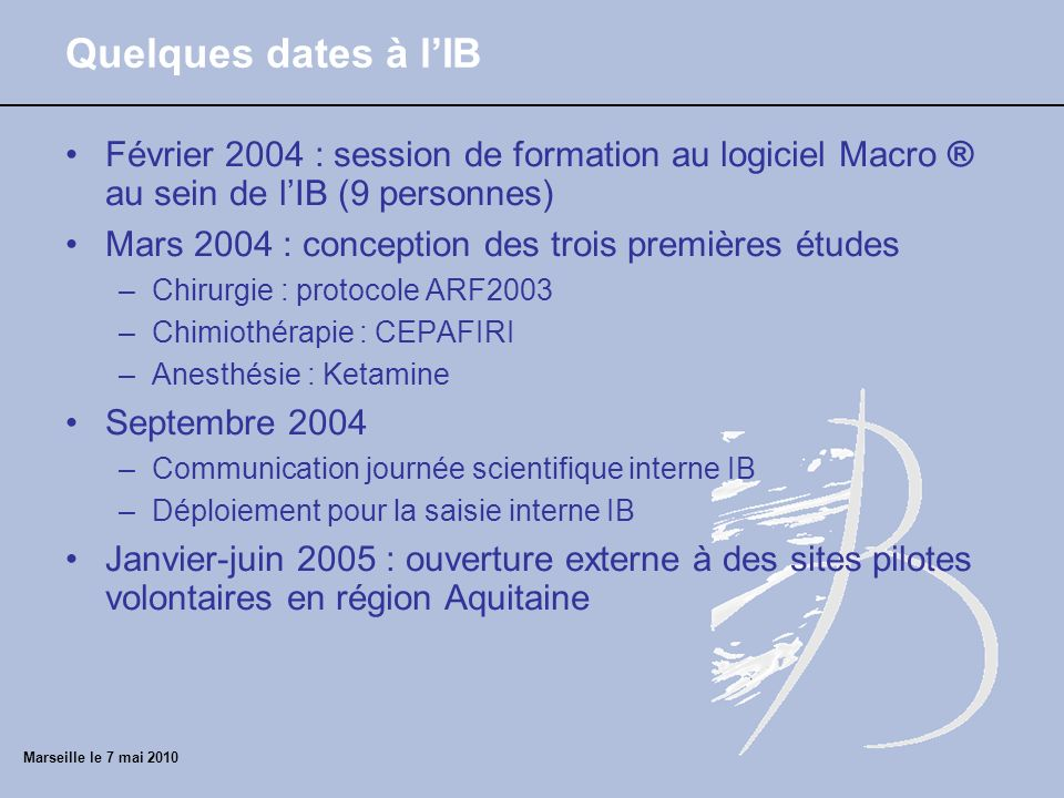 Quelques dates à lIB Février 2004 : session de formation au logiciel Macro ® au sein de lIB (9 personnes) Mars 2004 : conception des trois premières é