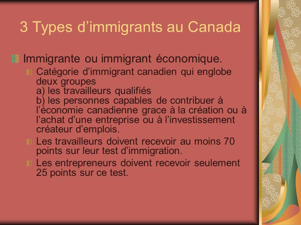 3 Types dimmigrants au Canada Immigrante ou immigrant économique.